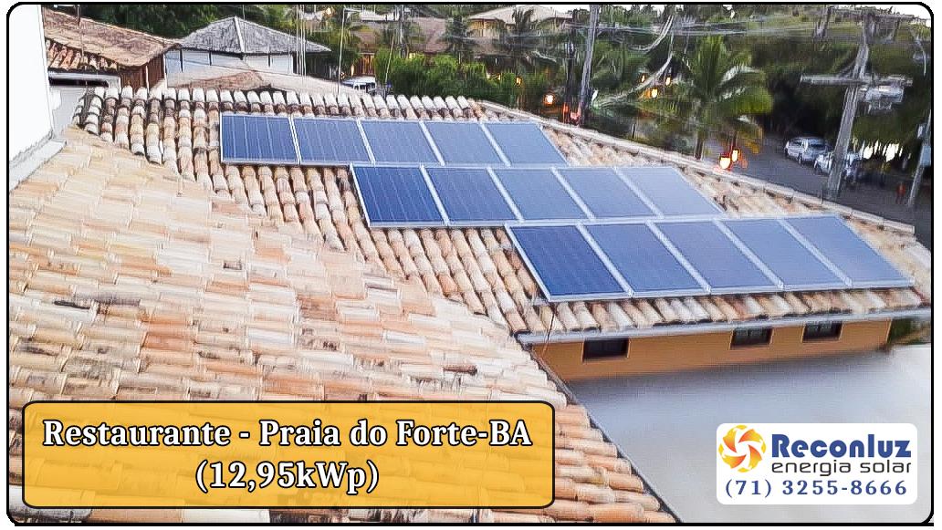 Energia Solar Salvador Bahia - Reconluz - Restaurante na Praia do Forte Bahia